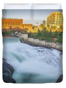 Falls And The Washington Water Power Building Along The Spokane  Duvet Cover