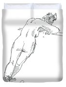 Female Figure Drawing Standing Pose Fountain Pen Ink  Duvet Cover