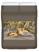 Female Lion And Cub Hdr Duvet Cover