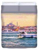 Ferry Traffic On The Bosphorus Duvet Cover