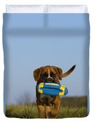 Fetching Boxer Puppy Duvet Cover