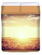 Field, Countryside At Sunset. Harvest Time. Vintage Duvet Cover