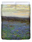Field Of Bluebonnets At Sunset Duvet Cover