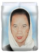 Filipina Woman Wearing A Scarf Duvet Cover