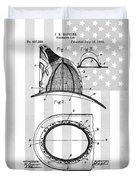 Fireman's Helmet Patent Duvet Cover