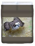 Fish Eagle Bird Playing In Water Duvet Cover