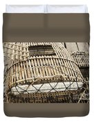Fishermen Bamboo Crab Cages At Kep Market Cambodia Duvet Cover