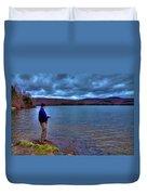 Fishing Limekiln Lake Duvet Cover