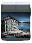 Fishing Shack And Wharf In Norris Point, Newfoundland Duvet Cover