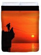 Morning Fishing 1 Duvet Cover
