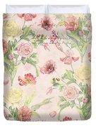 Fleurs De Pivoine - Watercolor W Butterflies In A French Vintage Wallpaper Style Duvet Cover