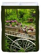 Flower Cart In Garden Duvet Cover by Elena Elisseeva