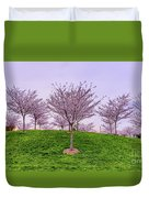 Flowering Young Cherry Trees On A Green Hill In The Park  Duvet Cover