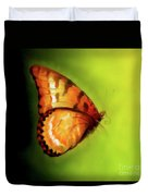 Flying Butterfly On Decorative Background, Graphic Design. Duvet Cover
