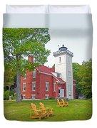 Forty Mile Point Lighthouse Duvet Cover