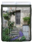 French Staircase With Flowers Duvet Cover