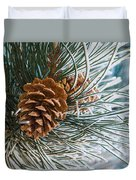 Frosty Pine Needles And Pine Cones Duvet Cover