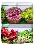 Fruits And Vegetables On A Supermarket Shelf Duvet Cover by Deyan Georgiev