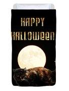 Full Moon Cat Duvet Cover