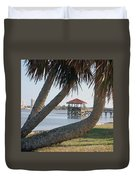 Gazebo Dock Framed By Leaning Palms Duvet Cover