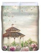 Gazebo In Summer Flower Garden Duvet Cover