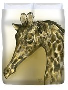 Giraffe Contemplation Duvet Cover