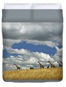 Giraffes On The Horizon Duvet Cover
