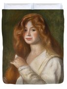 Girl Combing Her Hair Duvet Cover by Pierre Auguste Renoir
