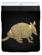 Gold Armadillo On Black Canvas Duvet Cover