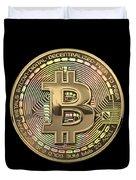 Gold Bitcoin Effigy Over Black Canvas Duvet Cover