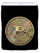 Gold Bitcoin Effigy Over Black Canvas Duvet Cover