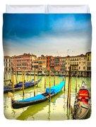 Gondolas In Venice - Italy  Duvet Cover
