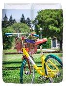 Google Bike Parked Near Googleplex Facility Park Duvet Cover
