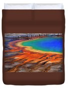 Grand Prismatic Spring Yellowstone National Park Tourists Viewin Duvet Cover