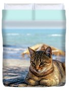 Gray Cat On The Background Of The Sea 1 Duvet Cover