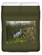 Great Egret At Coba Village Duvet Cover