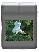 Great Egret With Fish Duvet Cover