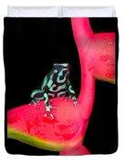 Green And Black Poison Dart Frog Duvet Cover
