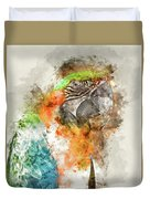 Green And Orange Macaw Bird Digital Watercolor On Photograph Duvet Cover