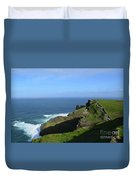 Green Grass On The Sea Cliff's In Ireland Duvet Cover