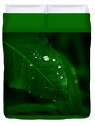 Green Leaf With Raindrops Duvet Cover