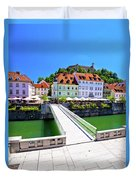 Green Ljubljana Riverfront Panoramic View Duvet Cover