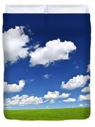 Green Rolling Hills Under Blue Sky Duvet Cover