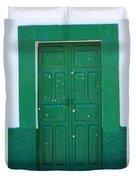 Green Wood Door Duvet Cover