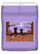 Halloween Cats Fence Duvet Cover