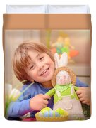 Happy Boy With Easter Bunny Duvet Cover