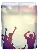 Happy Friends Family Jumping Together Having Fun Duvet Cover