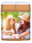 Happy Mother And Daughter Duvet Cover