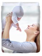 Happy Mother With Baby Duvet Cover