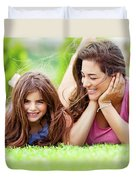 Happy Mother With Daughter Duvet Cover